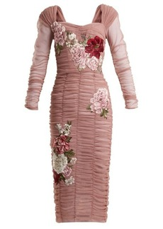 Dolce & Gabbana Floral-embroidered stretch-cotton tulle dress
