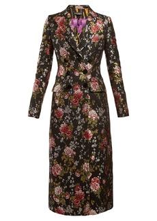 Dolce & Gabbana Floral-jacquard long coat