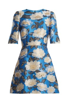 Dolce & Gabbana Floral-jacquard silk-blend dress