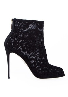 Dolce & Gabbana floral lace boooties - Black