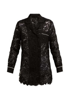 Dolce & Gabbana Floral-lace piped pyjama top