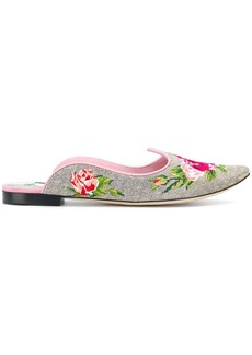 Dolce & Gabbana floral mules - White