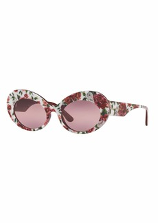 Dolce & Gabbana Floral Print Acetate Oval Sunglasses