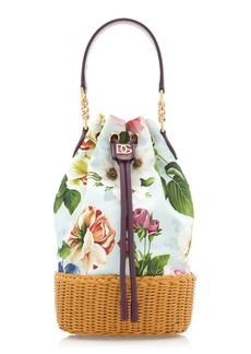 Dolce & Gabbana Floral-Print Canvas and Leather Top Handle Bag