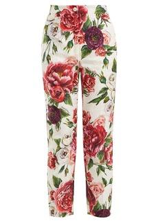Dolce & Gabbana Floral-print cotton-blend jacquard trousers