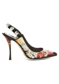 Dolce & Gabbana Floral-print crystal-embellished pumps