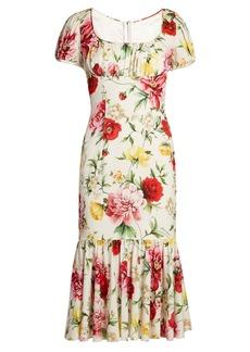 Dolce & Gabbana Floral-print gathered midi dress