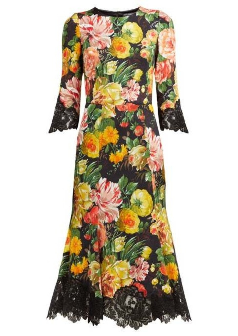 Dolce & Gabbana Floral-print lace-trimmed cady midi dress