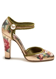 Dolce & Gabbana Floral-print leather pumps