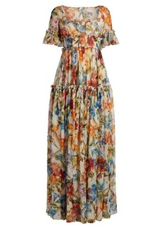 Dolce & Gabbana Floral-print ruffle-trimmed gown