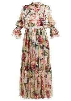 Dolce & Gabbana Floral-print ruffled silk-blend chiffon gown