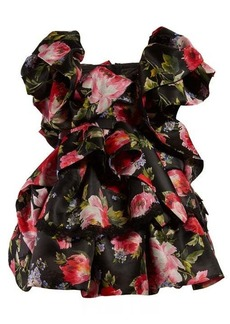 Dolce & Gabbana Floral-print ruffled silk-blend mini dress