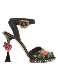 Dolce & Gabbana Floral-print sculptural-heel sandals