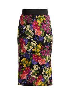 Dolce & Gabbana Floral-print silk-blend skirt