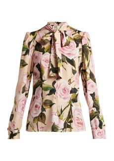 Dolce & Gabbana Floral-print silk-charmeuse pussy-bow blouse