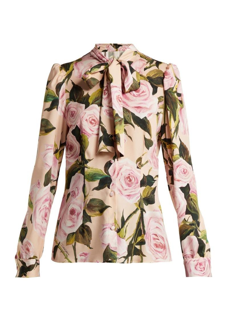e0fcb6bb7b102a Dolce   Gabbana Dolce   Gabbana Floral-print silk-charmeuse pussy ...