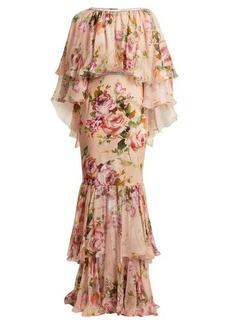Dolce & Gabbana Floral-print silk-chiffon gown
