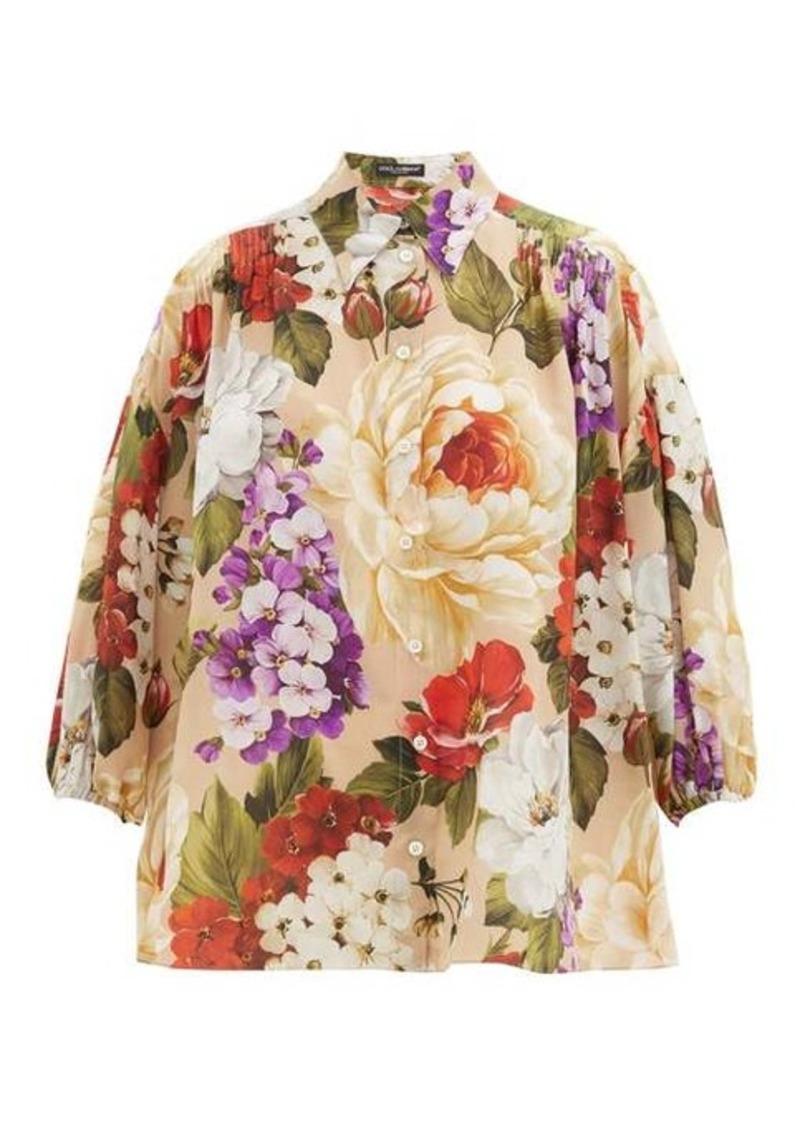 Dolce & Gabbana Floral-print silk-crepe shirt