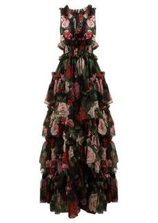 Dolce & Gabbana Floral-print silk-organza gown