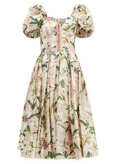 Dolce & Gabbana Floral-print silk-shantung bustier dress