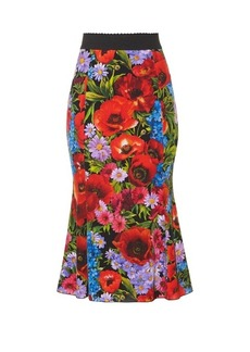 Dolce & Gabbana Floral-print stretch silk-charmeuse midi skirt