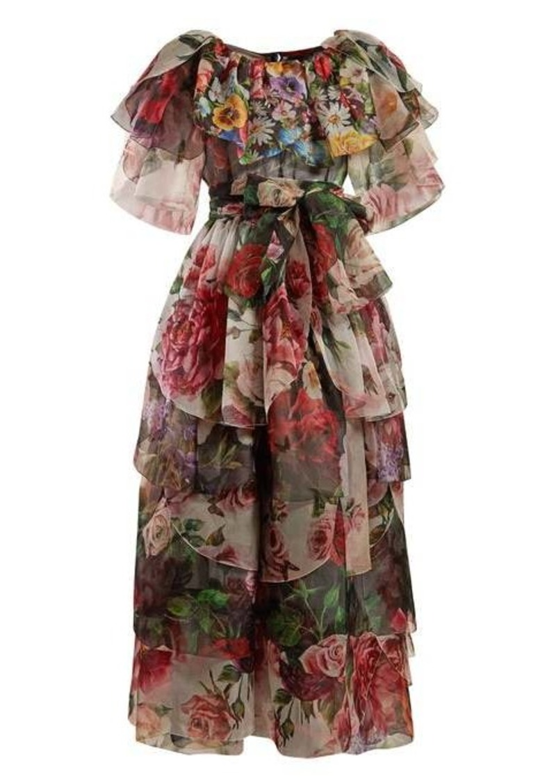 Dolce & Gabbana Floral-print tie-waist ruffled silk gown
