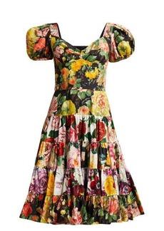 Dolce & Gabbana Floral-print tiered cotton-blend dress