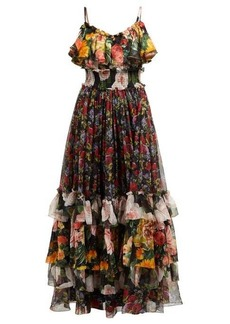 Dolce & Gabbana Floral-print tiered silk-chiffon gown