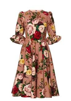 Dolce & Gabbana Floral-print velvet knee-length dress