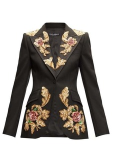 Dolce & Gabbana Sequinned single-breasted wool-blend suit jacket