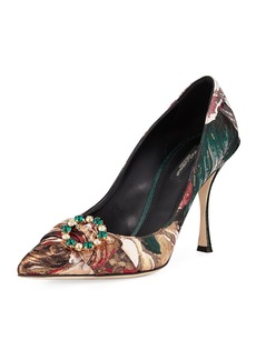 Dolce & Gabbana Floral Tapestry 90mm Pumps