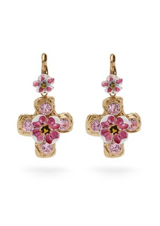 Dolce & Gabbana Flower and crystal-embellished cross earrings