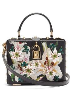 Dolce & Gabbana Flower and crystal-embellished leather box bag