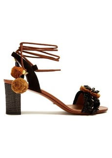 Dolce & Gabbana Flower-appliqué embellished raffia sandals