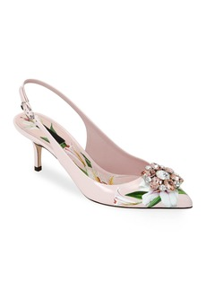 Dolce & Gabbana Flower Leather Slingback Pumps