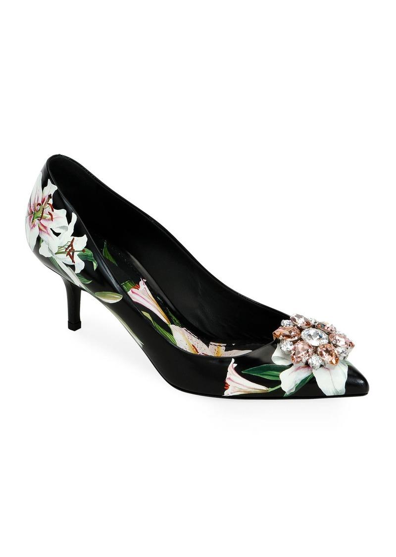 Dolce & Gabbana Flower Leather Slingback Pumps  Black