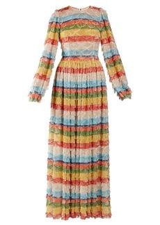 Dolce & Gabbana Fringe-trimmed striped maxi dress