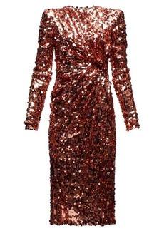 Dolce & Gabbana Gathered-waist sequinned dress