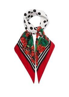 Dolce & Gabbana Geranium and polka dot-print silk scarf