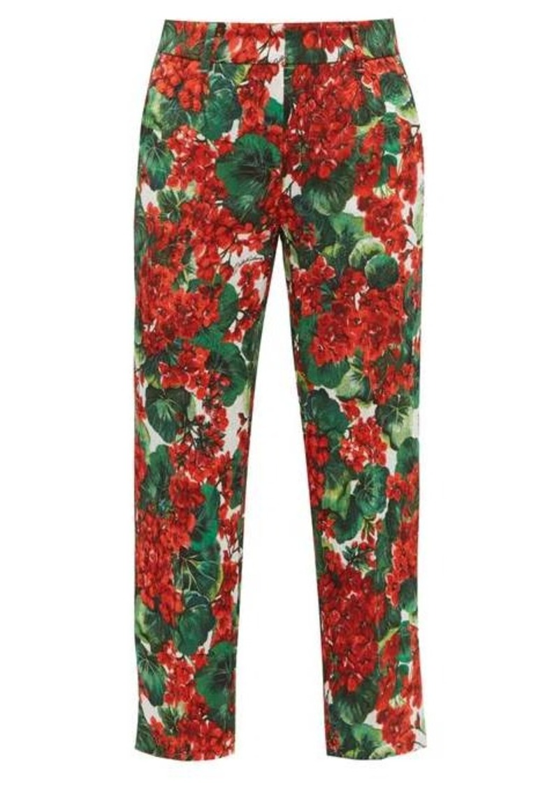 Dolce & Gabbana Geranium-print brocade cotton-blend trousers
