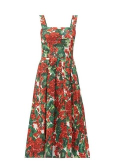 Dolce & Gabbana Geranium-print cloqué midi dress