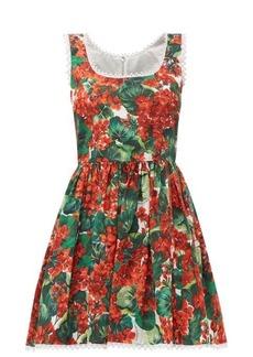 Dolce & Gabbana Geranium-print cotton mini dress