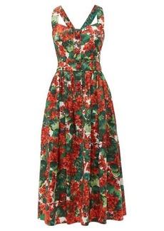 Dolce & Gabbana Geranium-print cotton poplin midi dress
