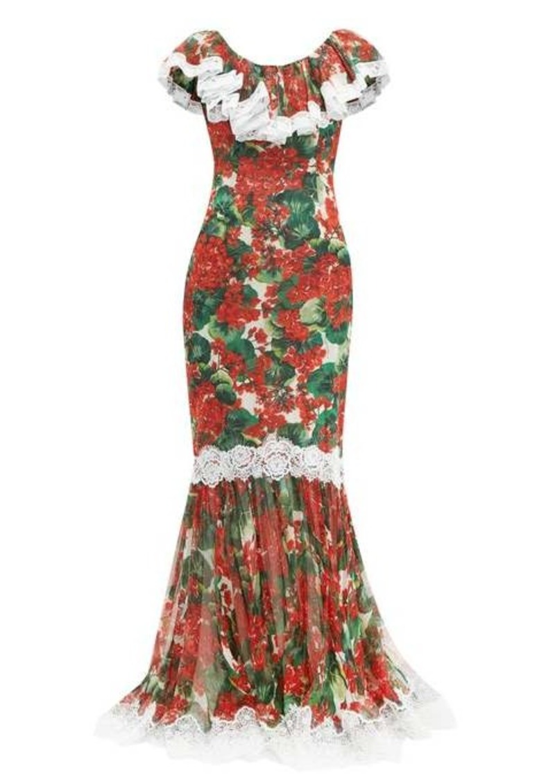 Dolce & Gabbana Geranium-print lace-trim silk-blend gown