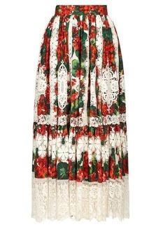 Dolce & Gabbana Geranium-print macramé-hem poplin midi skirt