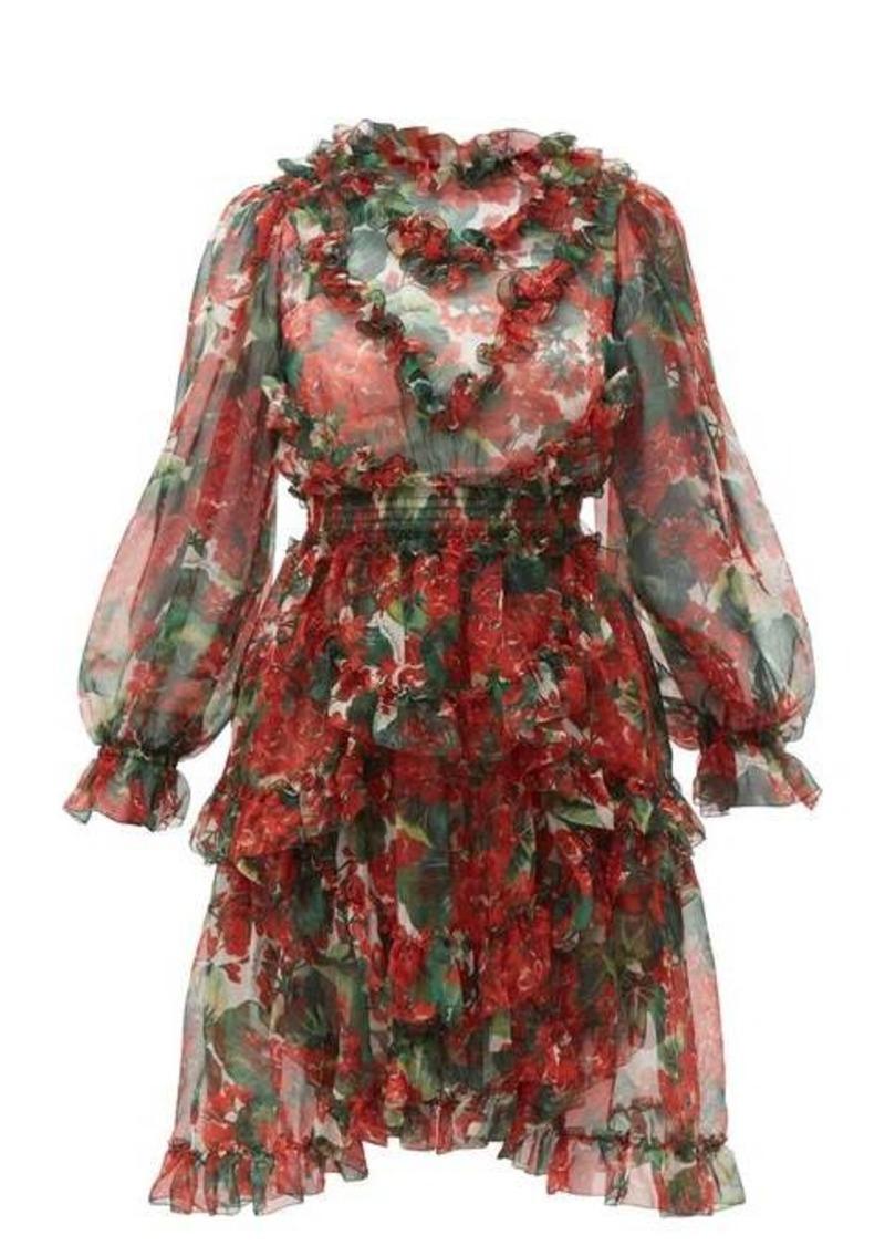 Dolce & Gabbana Geranium-print ruffle-trimmed silk dress