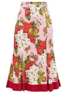 Dolce & Gabbana Geranium-print silk-blend charmeuse midi skirt