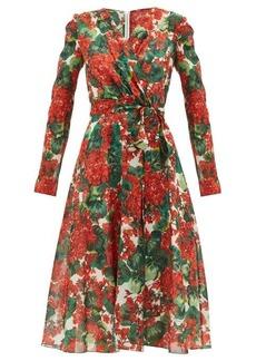 Dolce & Gabbana Geranium-print silk-blend midi dress