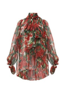 Dolce & Gabbana Geranium-print silk chiffon pussy-bow blouse