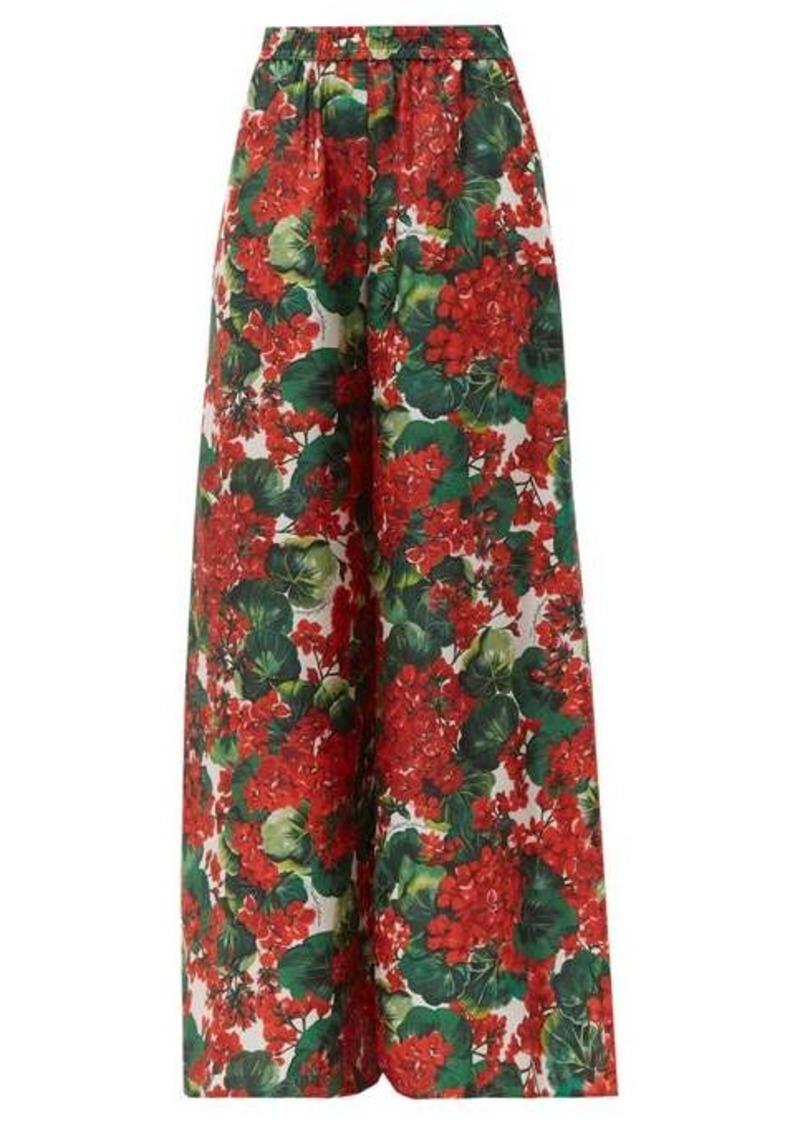 Dolce & Gabbana Geranium-print silk wide-leg trousers